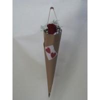 Букет 1 бр. роза, декорирана с гипсофил, нежна зеленина и семпла опаковка